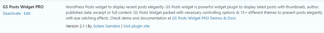 Activate GS Posts Widget